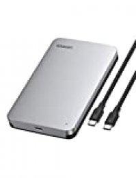 """UGREEN Carcasa Disco Duro 2,5"""" USB C con UASP, Caja de Aluminio para Disco Duro HDD SSD SATA I/II/III de 7mm 9.5mm de Altura, 10 TB MAX, para Xbox One, PS4, PS3, TV, con Cable USB C a USB C"""