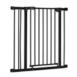 Hauck Close N Stop - Puerta de Seguridad con Extensión de 9 cm, para Puertas y Escaleras 84-89 cm, Sin Agujeros, Combinable con Y-Spindel Para Barandillas, Negro/Gris Marengo