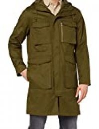 Marca Amazon - find. Cotton Utility - Abrigos Hombre, Verde (Khaki), L, Label: L