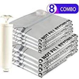 Eono Essentials - Paquete de 8 Bolsas prémium de compresión al vacío con Bomba Manual (4 Grandes y 4 extragrandes)