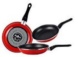 Magefesa Praga Juego de Sartenes 18Ø 20Ø 24Ø de Acero esmaltado, Antiadherente bicapa Reforzado, Color Rojo Exterior. Apta para Todo Tipo de cocinas, incluida inducción, Granate, 18-20-24