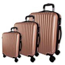 Juego de 3 Maletas rígidas con Barra Extensible y cómodas Asas, Maletas de Viaje con Ruedas, Ligeras.