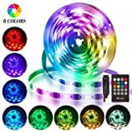 Tiras LED 3M, Hually Impermeable Tira LED USB con Control Remoto, Sincronizar con música,5050 RGB LED Strip con 4 Modos y 8 Colores, Luces LED para Habitacion, Hogar, Bar, Fiesta, Restaurante y Coche