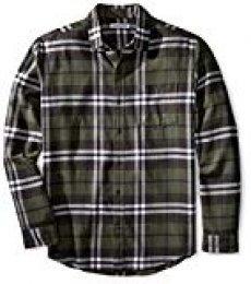 Amazon Essentials - Camisa de franela a cuadros de manga larga y ajuste regular para hombre