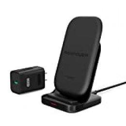 Cargador Inalámbrico Rápido HyperAir de RAVPower Adaptador QC 3.0 Incluidos hasta 7.5W, Base de Carga Inalámbrica Qi de 10W Compatible con el Galaxy S9, S8, Note 8