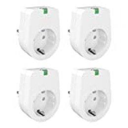 Enchufe Inteligente WiFi Lunvon Smart Plug Toma de Interruptor Remoto Inteligente Inalámbrico Compatible con Google Home, No se requiere Hub, Función de Temporizador, 2000W, 4 Pack