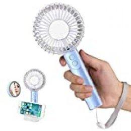 Ventiladores USB, Mini Ventilador de Mano Portátil con 2000mAh Batería Recargable, 3 Velocidades portátil Eléctrico Ventilador para Oficina, Hogar, Viajes, Aire Libre