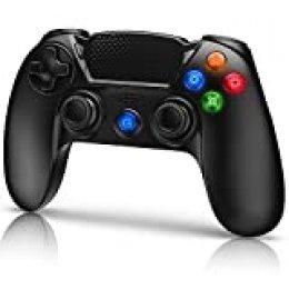 Gamory Mando Inalámbrico para PS4, Mando para PS4/Pro/Slim/PC, Controlador inalámbrico, Gamepad Wireless Bluetooth Controlador Joystick con Vibración Doble/Turbo/Puerto de Audio/Pantalla LED