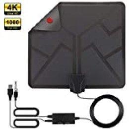 Antena TV Interior, HALOVIE Antena TV Portátil HDTV Digital la última Versión con Amplificador de Señal Inteligente para Canales de TV Soporte 4K 1080 HD/VHF/UHF para DTMB, ATSC,DVB-T, DMB-T, ISDB -T