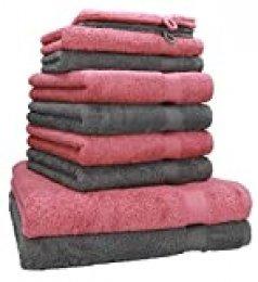 Betz Juego de 10 Toallas Premium 100% algodón 2 Toallas de baño 4 Toallas de Lavabo 4 Toallas de tocador 2 Manoplas de baño Color Gris Antracita y Rosa