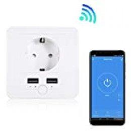 Enchufe de pared inteligente 15A con 2 USB Wifi Si Smart, compatible con Smart Life, Alexa y Google Home. Función control remoto, horarios, grupos, compartir y otros.