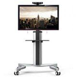 """Fleximounts P2 Soporte móvil de Suelo con Estante para TV, LCD, LED de 32""""-70"""", Carga MAX 45kg, Altura Ajustable, Pantallas de Plasma con Ruedas."""