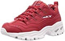 Skechers Energy-Retro Vision, Sandalias con Punta Cerrada para Mujer, Rojo Rojo Cuero Azul Marino Blanco Trim Rojo, 37 EU