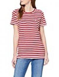 Tommy Hilfiger Tjw Textured Stripe tee Ropa Deportiva de Punto, Rojo (Deep Crimson/White 0e9), 40 (Talla del Fabricante: Large) para Mujer
