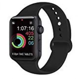 AK Compatible Apple Watch Correa 42mm 38mm 44mm 40mm, Silicona Blanda Deporte de Reemplazo Correas Compatible iWatch Series 4, Series 3, Series 2, Series 1 S/M M/L (01 Black, 42/44mm S/M)