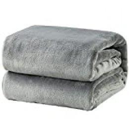 Bedsure Mantas para Sofás de Franela 130x150cm - Manta Perro Cama Reversible de 100% Microfibre Extra Suave - Manta Gris Transpirable