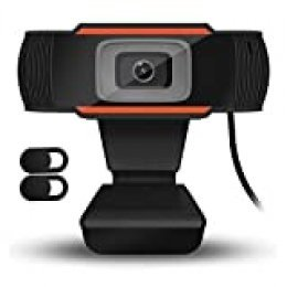 QueenDer Webcam HD 720P con 2Pcs Cámara Web Cover y Micrófono, USB Webcam con Corrección Automática de la Luz Mini Plug Play para Videollamadas, Estudios, Conferencias, Skype, Ordenador, PC