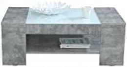 Forte Brady Mesa de café con Estante, Madera, Aspecto de hormigón, 120 x 71 x 45 cm