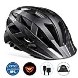 Casco de bicicleta PHZING CE certificado, ajustable, para adultos con visor desmontable, para bicicleta, de carretera o BMX, color negro, tamaño M-(21.5-22.4 in)