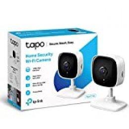 TP-Link - IP Camara Vigilancia WiFi Interior|Ideal para Mirar Bebés o Mascotas|Detección de Movimiento|Works with Alexa&Google Home|Audio de 2 Vías|Visión Nocturna|Almacenamiento SD (Tapo C100)