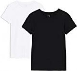 MERAKI 2 Pack Crew Neck, Camiseta con Cuello Redondo Mujer, Negro (Black Beauty/White), 40 (Talla del fabricante: Medium), Lot de 2