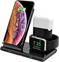 Hoidokly Cargador Inalámbrico, 3 en 1 Soporte de Carga para iPhone y Apple Watch, Base de Carga Rápida para iWatch 2/3/4/5, AirPods pro, iPhone SE/11/11 Pro MAX/XS MAX/XR(No Cable de Carga del iWatch)