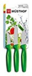 Juego de cuchillos Wüsthof, 3 piezas, cuchillo de pelar 6 cm, cuchillo puntilla 8 cm, cuchillo de verduras 8 cm, mango verde (9332g), cuchillo multiusos de punta media, apto para lavavajillas