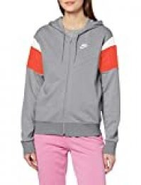 NIKE W NSW Hrtg Hoodie FZ FLC Sudadera, Mujer, dk Grey Heather/Track Red/White/(White), S