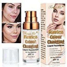 Foundation Color Changing, Base de Maquillaje, Concealer Cover Cream, Maquillaje de base impecable para todo el día, que cubre imperfecciones Base de maquillaje líquida