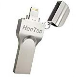 HooToo Pendrive 64GB, Flash Drive 2 en 1 [Certificado MFI] Compatible con iPhone y iPad, iPhone x/8/8plus/7/7 plus/6/6s/6s plus/5s, iPad, Mac, portatiles Windows, Memoria USB 3.0