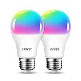 LVWIT Bombillas LED Inteligentes WiFi Regulable 8.5W 806 Lm, Lámpara E27 Multicolor Bombilla Funciona con Alexa, Google Home Assistant y App Smart Life/Tuya, A60 Equivalente a 60W RGB, 2 Pcs.