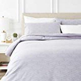 AmazonBasics - Juego de cama de franela con funda nórdica - 200 x 200 cm/50 x 80 cm x 2, Gris geo