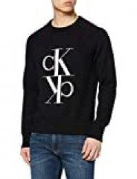 Calvin Klein Mirrored Monogram Cn Sweater Sudadera, CK Black, L para Hombre