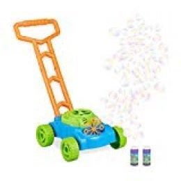 Relaxdays Máquina Burbujas Cortacésped, Plástico, Verde-Azul, A Pilas, Color (10024939)