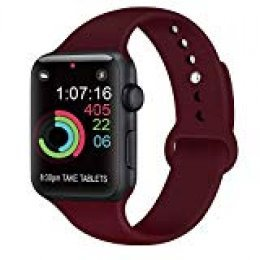 AK Compatible Apple Watch Correa 42mm 38mm 44mm 40mm, Silicona Blanda Deporte de Reemplazo Correas Compatible iWatch Series 4, Series 3, Series 2, Series 1 S/M M/L (02 Wine Red, 42/44mm S/M)