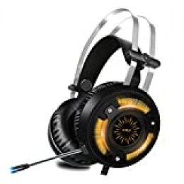 ALWUP Cascos PS4 Gaming, Auriculares Gaming PS4 Xbox One con Micrófono,Auriculares PC Game Graves Profundos Sonido Estéreo Anti-Ruido y Luces LED USB para Playstation Nintendo Switch Laptop Computer