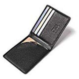 flintronic Tarjetas de Crédito, Cartera Piel RFID Billetera Hombre Cuero Monedero Tarjetero Slim Suave Moda y Casual, Negro con Caja (&10 Negro Suave)