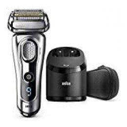 Braun Series 9 9292 Clean&Charge Afeitadora Eléctrica Hombre, Afeitadora Barba, Estación de Limpieza y Carga Clean&Charge y Funda para Viaje, Plata