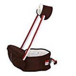 Portabebé Asiento de Cadera Cintura de Taburete Baby Waist Stool Posiciones Asiento Multifunción Mochila de Honda Seguro Hebilla para 0 - 36 meses Niños (Café)