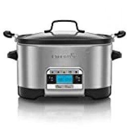 Crock-Pot CSC024 Olla de cocción lenta, 5.6 litros, Acero Inoxidable, Gris