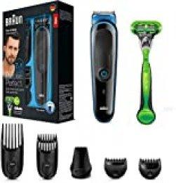 Braun MGK3042 7 en 1 Recortadora todo en uno, Máquina recortadora barba y cortapelos, recortadora para pequeños detalles, color negro/azul