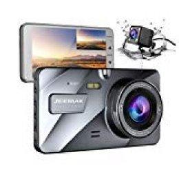 """JEEMAK Cámara de Coche 4"""" FHD Dual Lens Dash CAM 1080P Camera para Coche con Gran Angular de 170 Grados Grabadora DVR G-Sensor Monitor de Aparcamiento y visión Nocturna WDR y grabación en Bucle"""