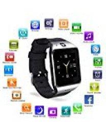 Reloj Inteligente, [Regalo de Reyes] HAMSWAN Smartwatch Bluetooth para Andriod con Cámara Facebook Whatsapp Twitter Cronómetro Pódometro Monitor de Dormir etc. Soporte Tarjeta TF SIM