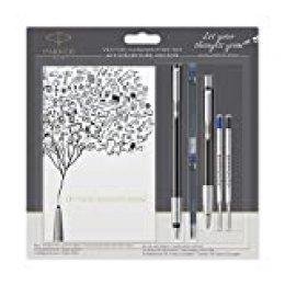 Parker 2055855Vector de texto Juego con una pluma estilográfica, un bolígrafo y un–Cuaderno A6, negro con cromo Compartir Ornamentales, azules recambios para bolígrafo (Colores Surtidos