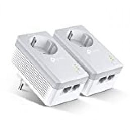 TP-Link TL-PA4020P Kit Powerline con enchufe adicional, AV 600 Mbps en Powerline, 2 puerto ethernet, homeplug AV, sin wifi, solución para dispositivos con cable como PC, decodificador Sky, PS4, Blanco
