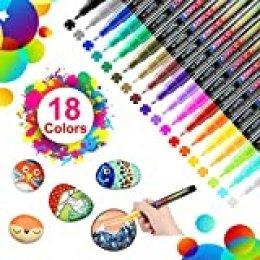 WOTEK 18 Colores Rotuladores de Pintura Acrílica Rotuladores Permanentes de Colores Rotuladores Acrilicos Permanentes Pintura para Tela,Pintar Piedras,Metal, Madera, Vidrio,Huevo de Pascua,DIY(0.7mm)