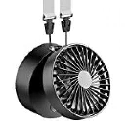 Funme Mini Ventilador de Suspensión Batería Recargable 2600mAh USB Plegable con 3 Ajustable 3-12H Horas de Trabajo Personal Ventilador Pequeño Viajes Camping Al Aire Libre-Negro