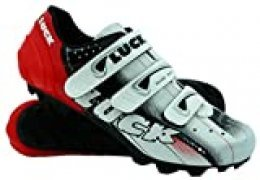 LUCK Zapatillas de Ciclismo Extreme 3.0 MTB,con Suela de Carbono y Triple Tira de Velcro de sujeción ademas de Puntera de Refuerzo. (Rojo 42 EU)