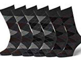 Easton Marlowe 6 PR Calcetines Estampados Hombre Argyle - 6pk #2-11, argyle - carbón, 43-46 EU shoe size