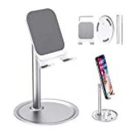 JEEZAO SoporteMovil Mesa,Aleación de Aluminio,AjustableSoporte para Teléfono para iPhone 11 Pro XR,XS,Samsung,Huawei,Tablets,Nintendo Switch (Plata)